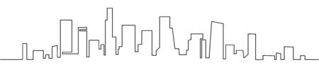 Modern cityscape continuous one line vector drawing. Metropolis architecture panoramic landscape. New York skyscrapers hand drawn silhouette. Apartment buildings Ilustracja