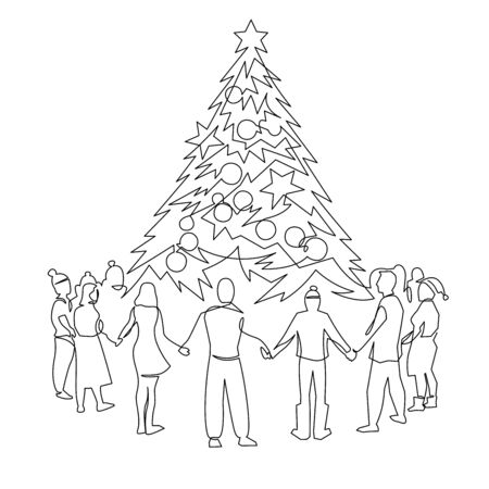 Unity, company of people around the Christmas tree continuous one line drawing. Friends holding hands together. New Year party