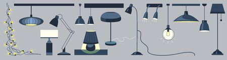Lamps and chandeliers flat vector illustration set. Cartoon icons drawing pack. Bedroom, living room decor isolated design elements. Table lamp, lantern, electric equipment