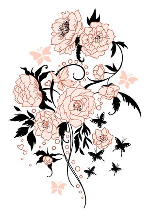 Vintage flower bouquet tattoo style. Vector drawing. Peony, rose, leaves and butterfly sketch. Engraved botanical composition. Hand drawn floral wedding invitation, label template, anniversary card.