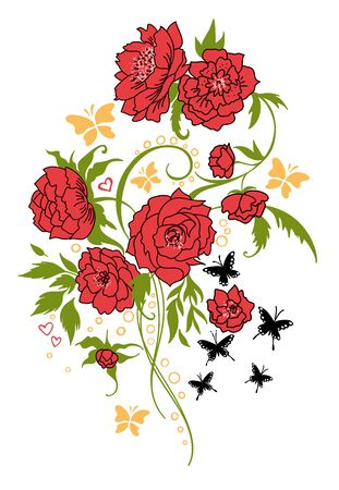 Vintage flower bouquet tattoo style. Vector drawing. Peony, rose, leaves and butterfly sketch. Decorative botanical composition. Hand drawn floral wedding invitation, label template, anniversary card.