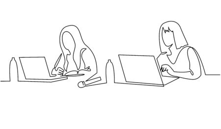 Group of people working continuous one line vector drawing. Students preparing to exams, doing homework hand drawn characters.