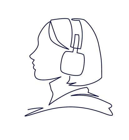 Woman listening to music in headphones continuous one line vector drawing