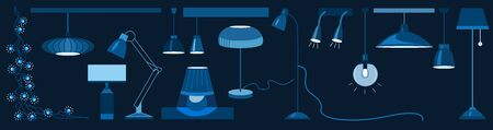 Lamps and chandeliers flat vector illustration set