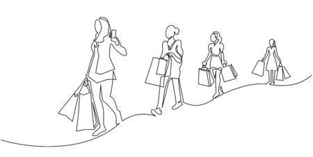 Continuous one line drawing women with shopping bags in their hands. Fashion girls on New Years sale