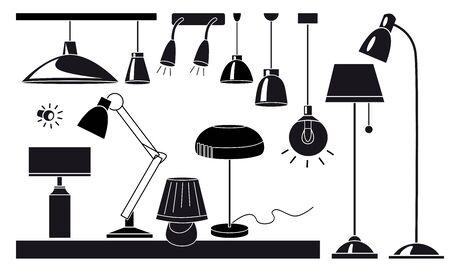 Ensemble d'illustrations vectorielles à plat de lampes et de lustres. Icônes de dessin animé noir et blanc