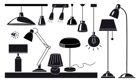 Lamps and chandeliers flat vector illustration set. Cartoon black and white icons