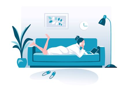 Woman talking on phone flat vector illustration. Working from home, remote job. Online shopping. 向量圖像