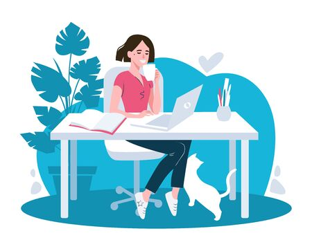 Woman using laptop flat vector illustration. Working from home, remote job. Ilustracja