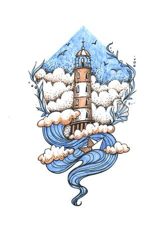 Lighthouse in the storm illustration, hand drawn ink engraving design. Nautical theme illustration concept.