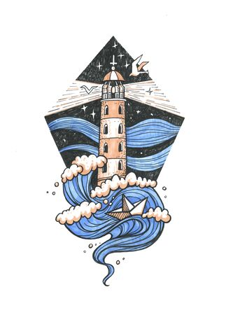 Lighthouse in the night storm colored tattoo illustration, hand drawn ink engraving design