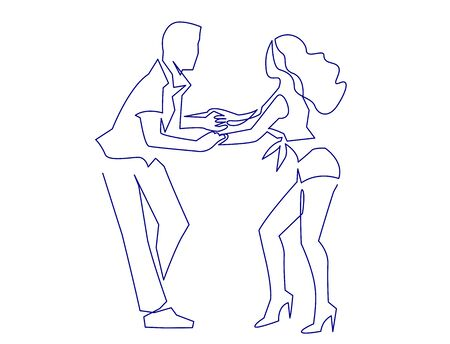 Sexy Salsa couple dancing continuous one line drawing. Latin ballroom dance, isolated on white.