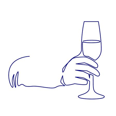 Continuous one line drawing glass of shimmer wine in hand toasting on white background. Illustration