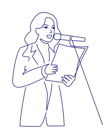 Continuous line drawing of business coach talking before audience vector illustration