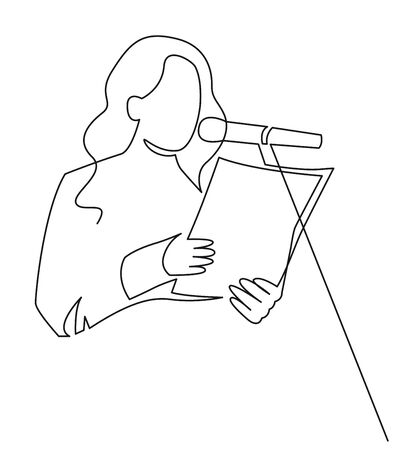 A woman is reading a document in front of a microphone continuous one line drawing. Scientist report. Political speech, oratory on stage before audience vector illustration isolated on white Illustration