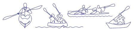Continuous one line drawing of Rafting, sea kayaking icons set. Vector illustration of water sport