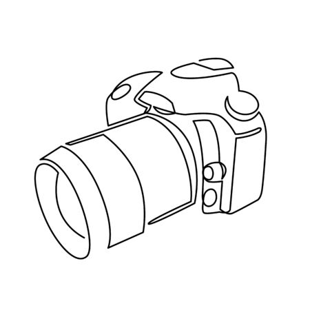 Continuous one line drawing of professional photo camera vector illustration. 向量圖像