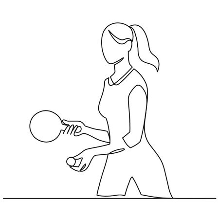 Continuous one line drawing of young sporty woman table tennis player take the serve. 向量圖像