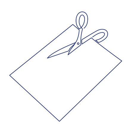 Continuous one line drawing of scissors cut paper vector illustration. 版權商用圖片 - 143956478