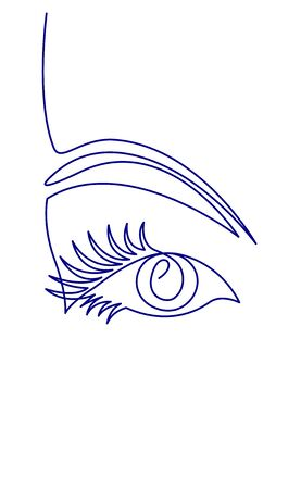 Continuous one line drawing of Beautiful Woman s eye. Black and white isolated outline vector illustration. Illustration