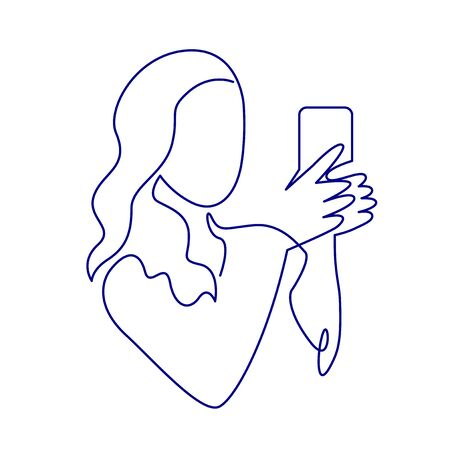 Continuous one line drawing of woman making photos with smartphone camera. Minimalistic contour illustration