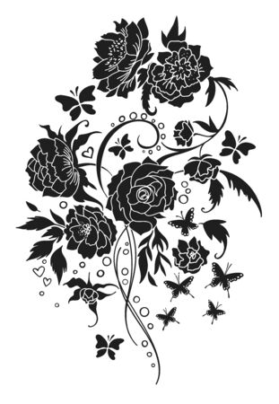 Vintage flower bouquet tattoo style. 版權商用圖片 - 143780255