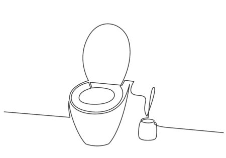 Continuous one line drawing of toilet bowl and toilet brush vector illustration. WC black line sketch isolated on white background 向量圖像