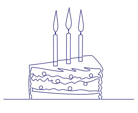 Continuous one line drawing Piece of birthday cake with three candles. Symbol of celebration. Line style isolated on white background. Happy birthday Hand drawn vector illustration Illustration