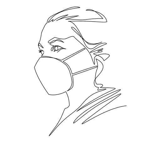 One line drawing of woman wearing disposable medical face mask to protect against high air toxic pollution city. Stop the spread of viruses, help prevent hand-to-mouth transmissions. Vector Stock Vector - 144010198