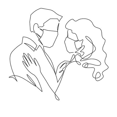 Continuous one line drawing of love in quarantine times. Couple hugs in protective medical masks vector illustration. Air pollution concept couple wearing protective face mask against smoke 版權商用圖片 - 144010200