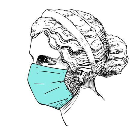 Venus, the ancient Greek goddess of love wearing disposable medical face mask vector illustration.