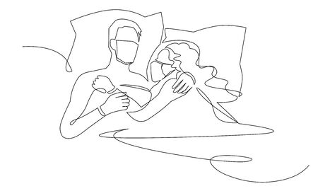 Continuous one line drawing of love in quarantine times. Couple hugs in protective medical masks vector illustration. Air pollution concept couple wearing protective face mask.