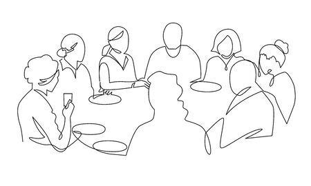 Birthday party continuous one line vector drawing. B-day celebration. Hand drawn family dinner, holiday, festival. Woman and guests sitting at table. Thanksgiving Day illustration. Funeral banquet. Ilustração Vetorial