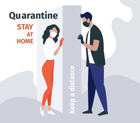 Love in quarantine times - stay at home vector flat illustration. Man and woman are isolated from each other. Couple in protective medical masks. Danger of the virus, quarantine, warning and attention