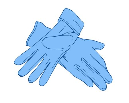 Hand drawn medical protective vector blue gloves on white background, hygiene supplies, medical surgical gloves cartoon style, medical icons quarantine virus protection