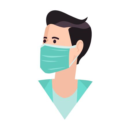 Medical mask. Healthy man in medical protection mask. Caring for health at flu epidemic time. Vector illustration, flat design, cartoon style. Isolated background. Stock Illustratie