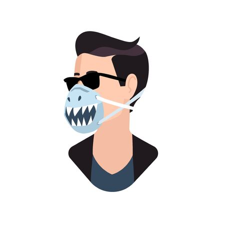 Male person wearing protective funny face mask flat vector illustration. Stylish user picture character icon in a painted respirator 版權商用圖片 - 144588066