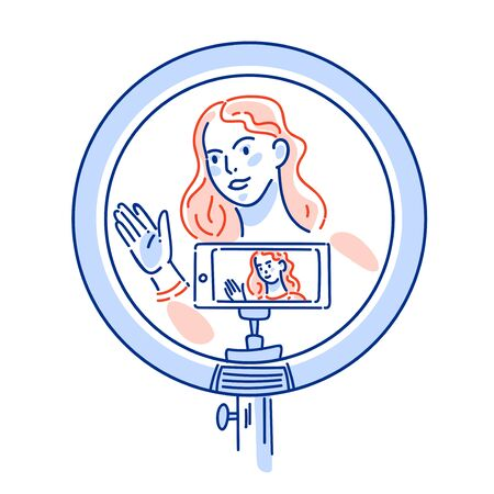 Internet blogger, profession or hobby, girl in front circular light line vector illlustration. Webcam streaming recording, Woman online answering questions and messages.