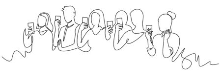Group of people holding smartphone, making online stories or streaming in social networks. Crowd standing with phones in their hands continuous one line vector drawing. Women and men at concert 版權商用圖片 - 144705222