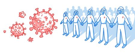 Medical personnel in protective suits, medical glasses and masks. The fight against coronavirus. illustration in cartoon style. Health workers protect against the virus hand in hand.