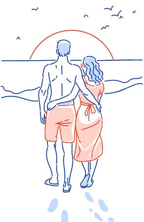 Couple holding hands on the beach going on the ocean hand drawn vector illustration. Lovers watch the sunset. View from the back