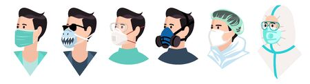Medical mask flat icons set. Healthy man in medical protection mask. Caring for health at flu epidemic time. Character in protective equipment  イラスト・ベクター素材