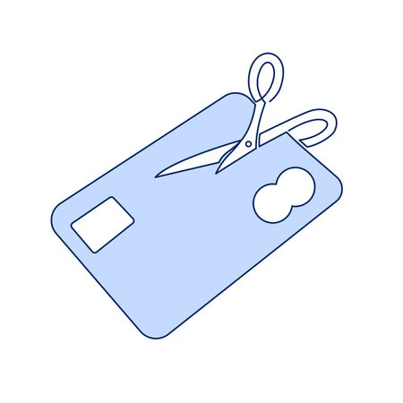 Expired Credit Card Thin Line Vector Icon. Cancel a plastic card outline illustration isolated on the white background