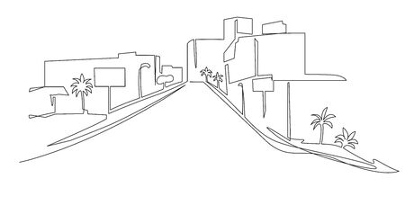 Modern urban scene continuous one line vector drawing. City architecture panoramic landscape. Street hand drawn silhouette. Apartment buildings isolated minimalistic illustration.