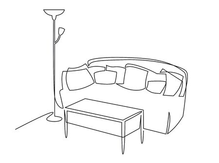 Continuous one line drawing the interior of the living room in the house. Sofa, coffee table and lamp vector hand drawn silhouette clipart. 向量圖像
