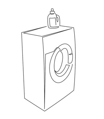 Washer continuous one line vector drawing. Appliance vector icon. Washing house thin line design