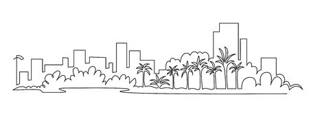 Modern cityscape continuous one line vector drawing. Metropolis architecture panoramic landscape. Dubai skyscrapers hand drawn silhouette. Apartment buildings isolated minimalistic illustration. Vettoriali