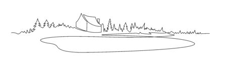 Rural landscape continuous one line vector drawing. Lake house in the woods hand drawn silhouette. Country nature panoramic sketch. Village minimalistic contour illustration. Stock Illustratie