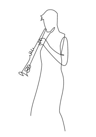 Continuous line drawing of musician plays saxophone vector illustration isolated on white. Musical concept sax player silhouette for decoration, sax design, invitation jazz festival, music shop.