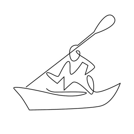 Continuous one line drawing of Rafting, sea kayaking icon. Vector illustration of water sport - happy rafter with paddle in river boat. Linear sign, summer recreation pictograms  イラスト・ベクター素材
